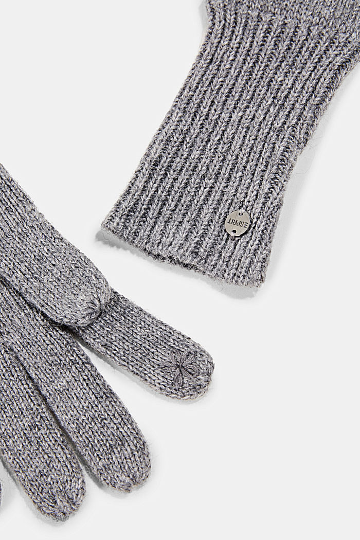 Recycled: knit touchscreen gloves, GUNMETAL, detail image number 1