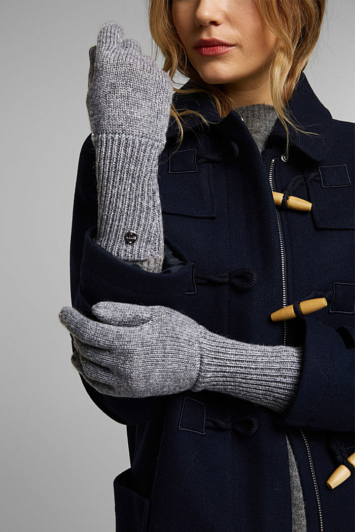 Recycled: knit touchscreen gloves, GUNMETAL, detail image number 2