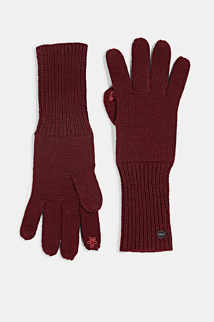 Recycled: knit touchscreen gloves, BORDEAUX RED, detail image number 0