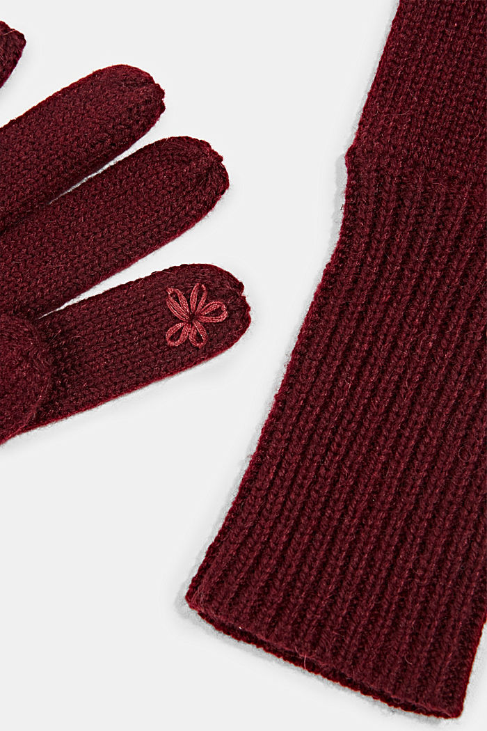 Recycled: knit touchscreen gloves, BORDEAUX RED, detail image number 1