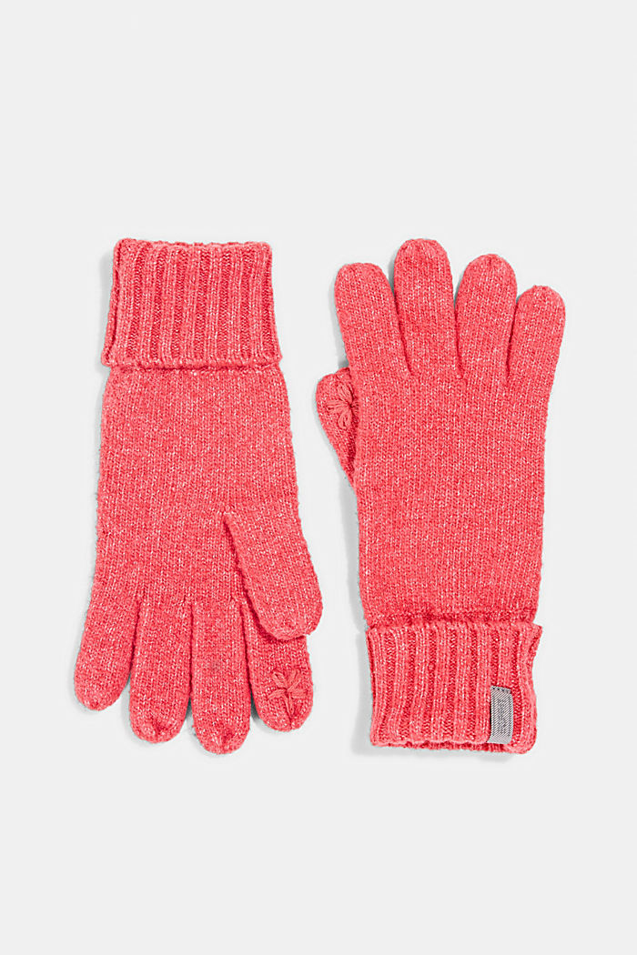 Recycled: blended wool touchscreen gloves, PINK FUCHSIA, detail image number 0