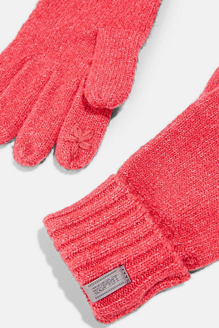 Recycled: blended wool touchscreen gloves, PINK FUCHSIA, detail image number 1