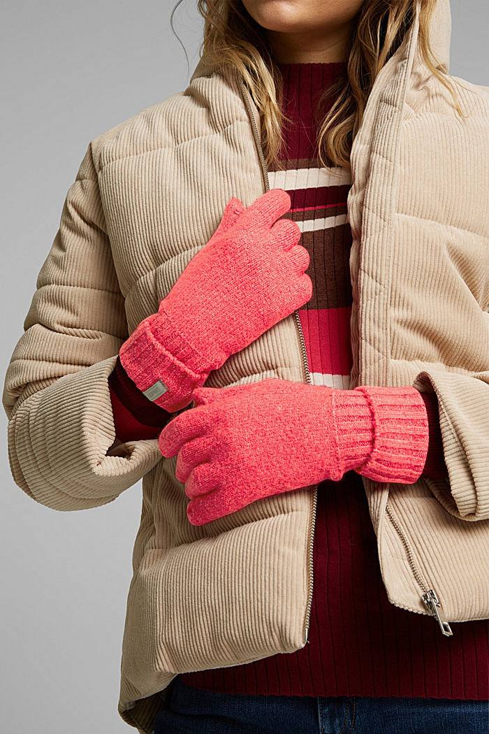 Recycled: blended wool touchscreen gloves, PINK FUCHSIA, detail image number 2