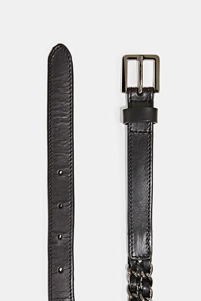 Ketjuvyö nahkaa ja metallia, BLACK, detail image number 1