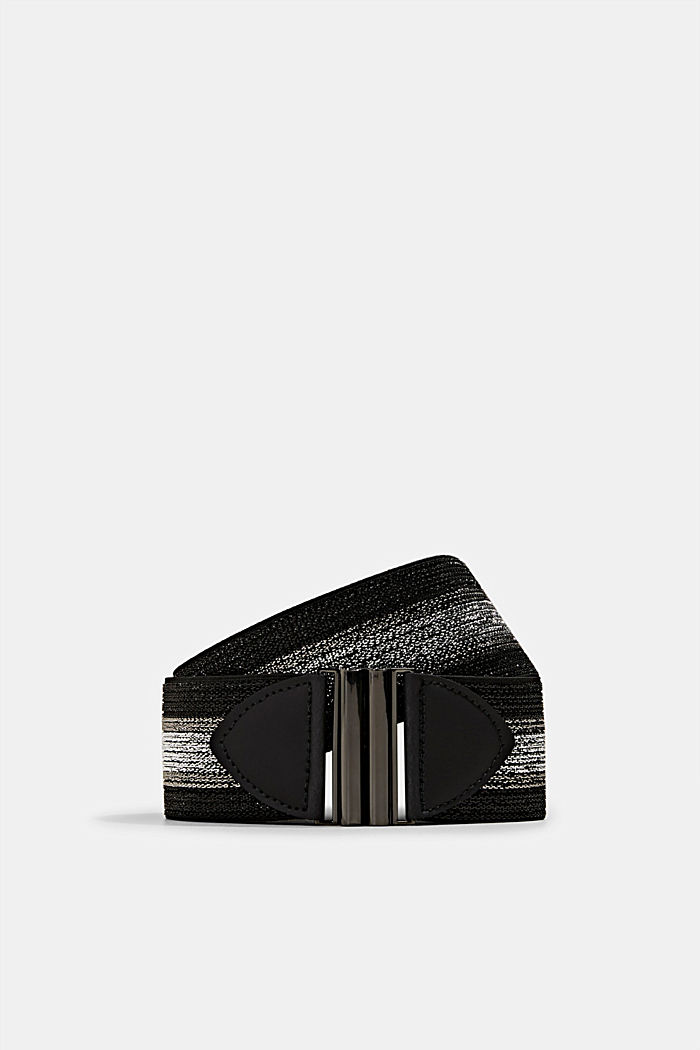Stretchy, glittering waist belt, BLACK, detail image number 0