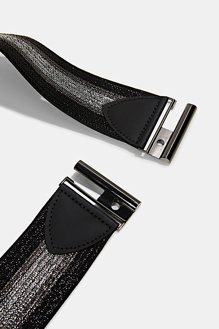 Stretchy, glittering waist belt, BLACK, detail image number 1