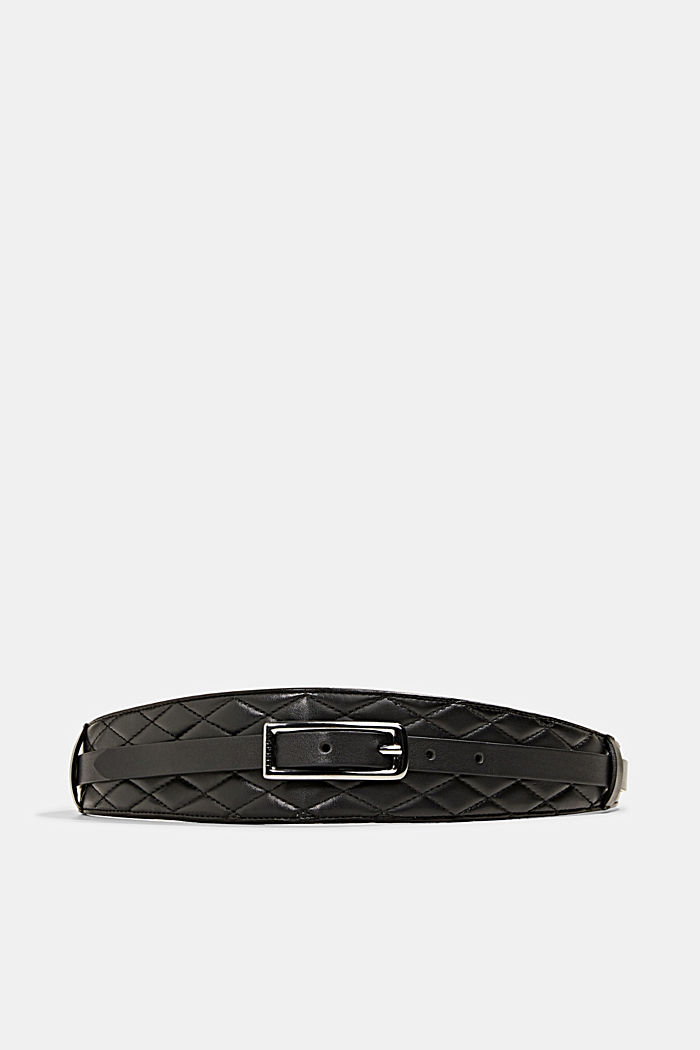 Waist belt with topstitched details, BLACK, overview