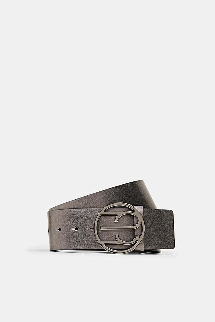 Waist belt with Monogram buckle, GUNMETAL, detail image number 0