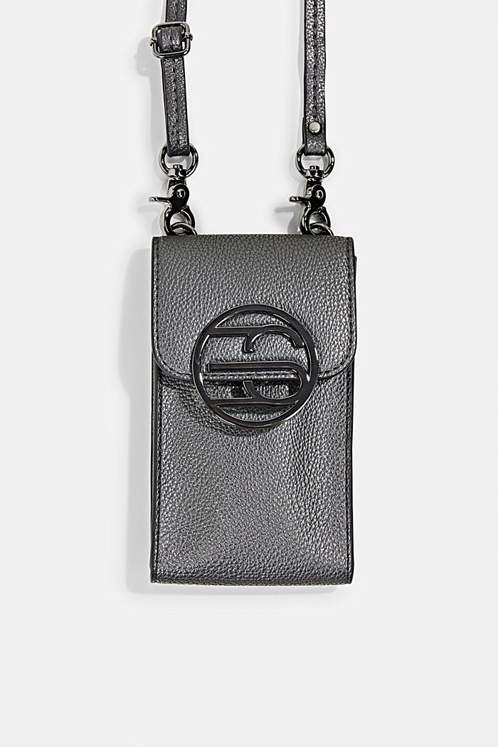 Monogram, faux leather mobile phone bag, GUNMETAL, overview