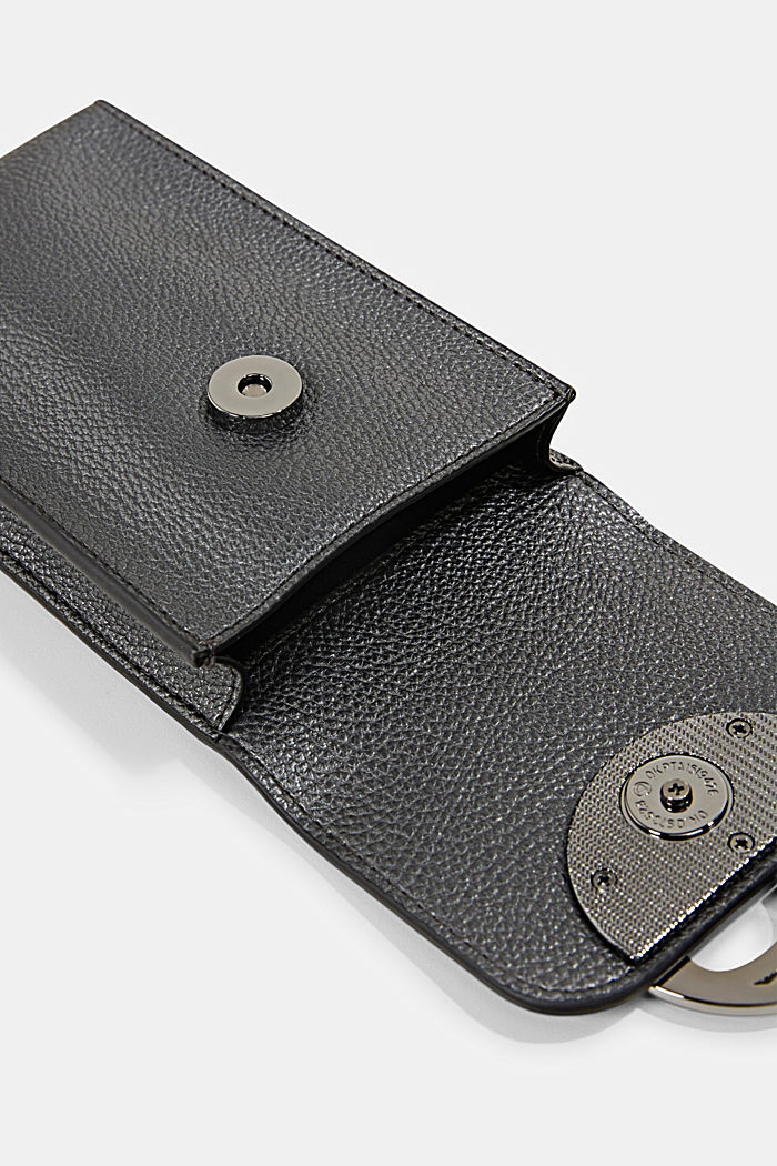 Monogramm Phone Bag in Leder-Optik, GUNMETAL, detail image number 3