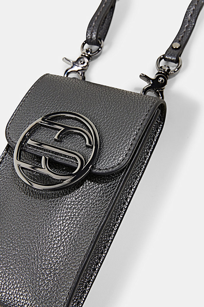 Monogramm Phone Bag in Leder-Optik, GUNMETAL, detail image number 1