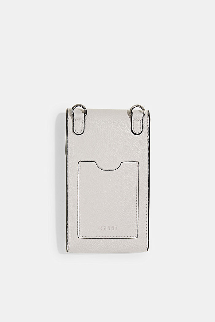 Monogram, faux leather mobile phone bag, LIGHT GREY, detail image number 2