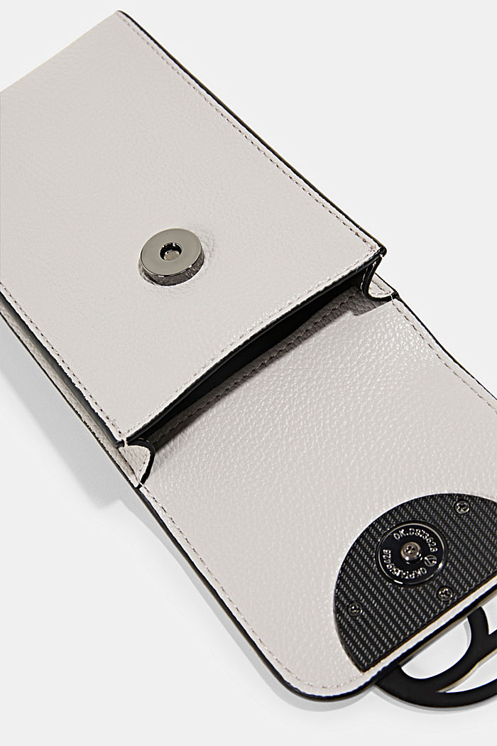 Monogram, faux leather mobile phone bag, LIGHT GREY, detail image number 3