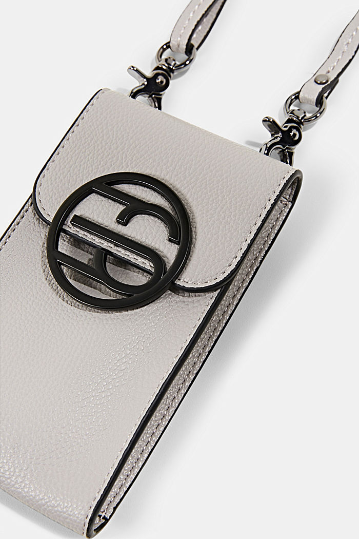 Monogram, faux leather mobile phone bag, LIGHT GREY, detail image number 1