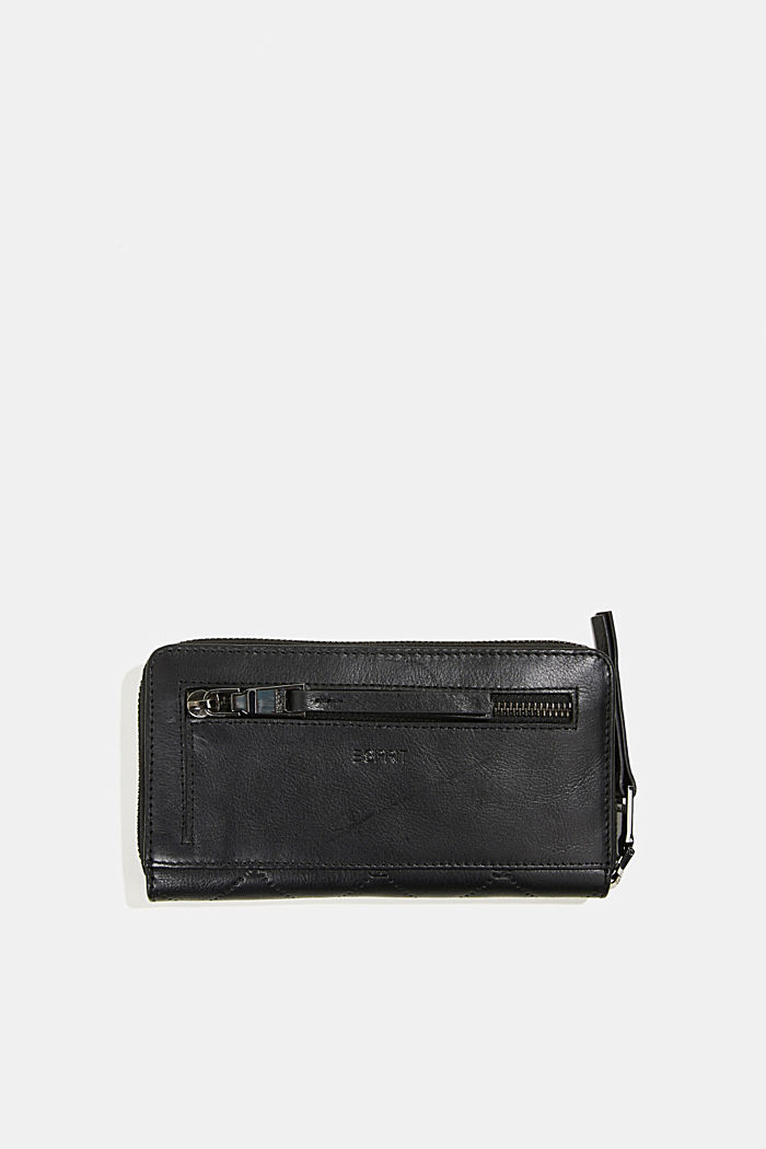 Monogram leather purse, BLACK, detail image number 2