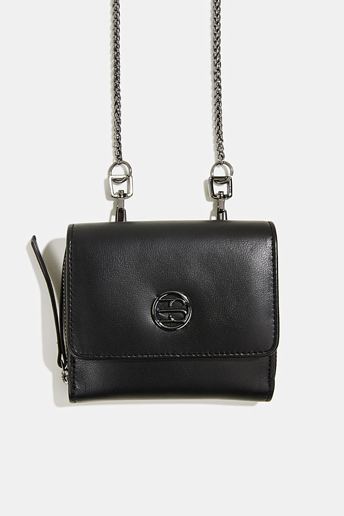 Leather purse with adjustable chain strap, BLACK, detail image number 0