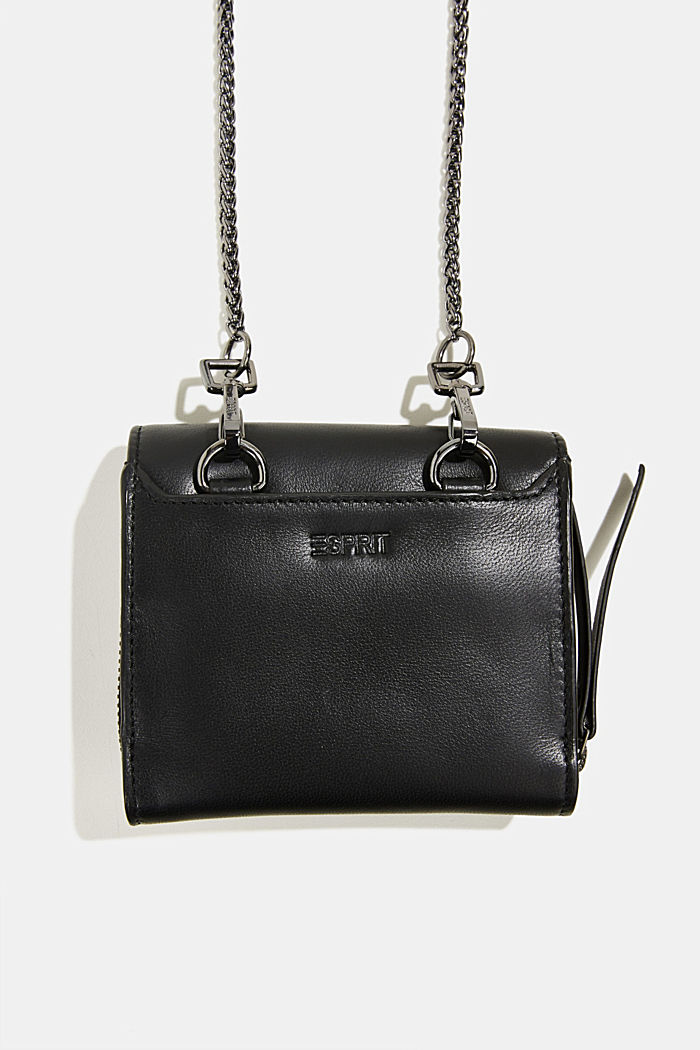 Leather purse with adjustable chain strap, BLACK, detail image number 2