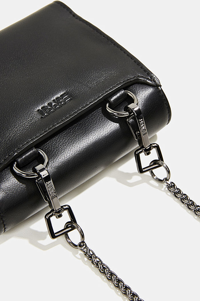 Leather purse with adjustable chain strap, BLACK, detail image number 1