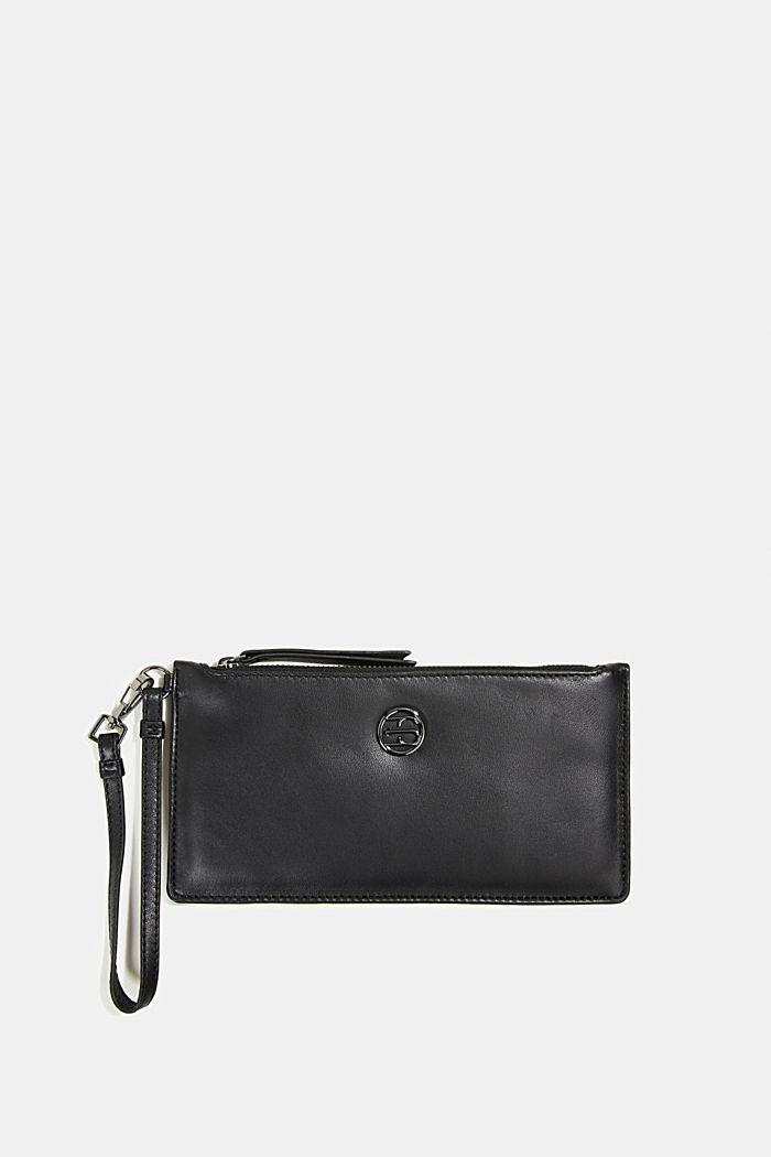 Thin monogram leather purse, BLACK, detail image number 0