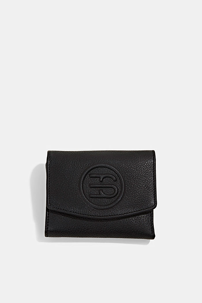 Monogram leather wallet, BLACK, overview