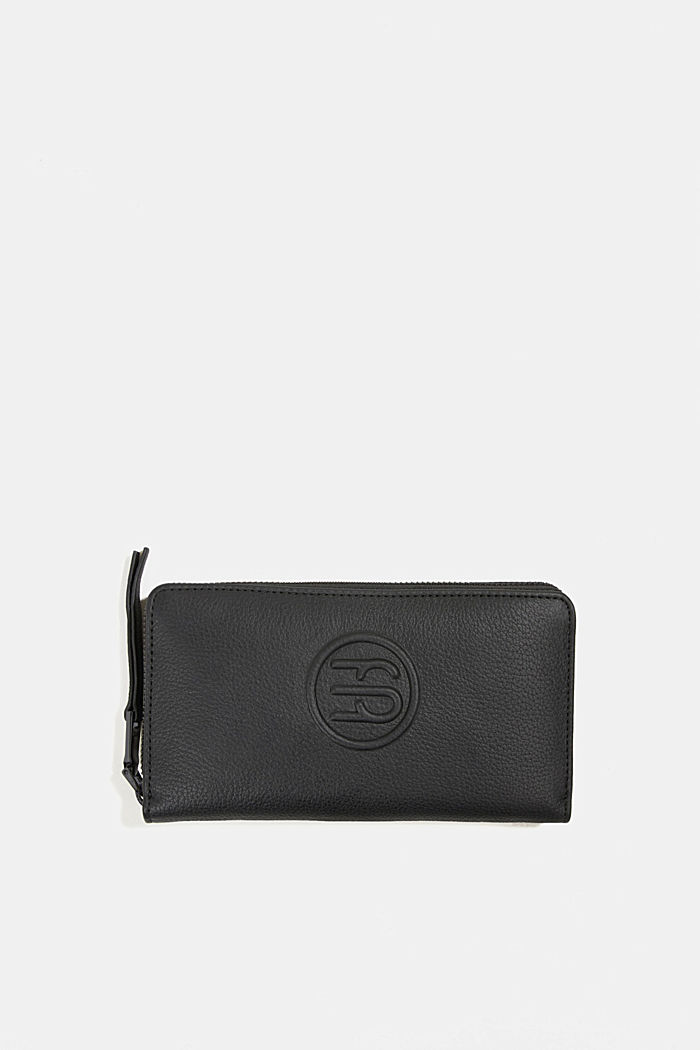 Monogram leather purse, BLACK, overview
