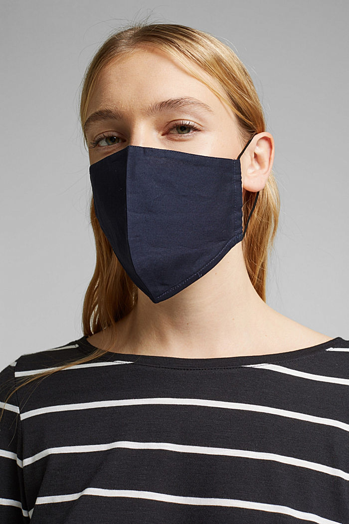 Unisex mask made of 100% organic cotton, NAVY, detail image number 2