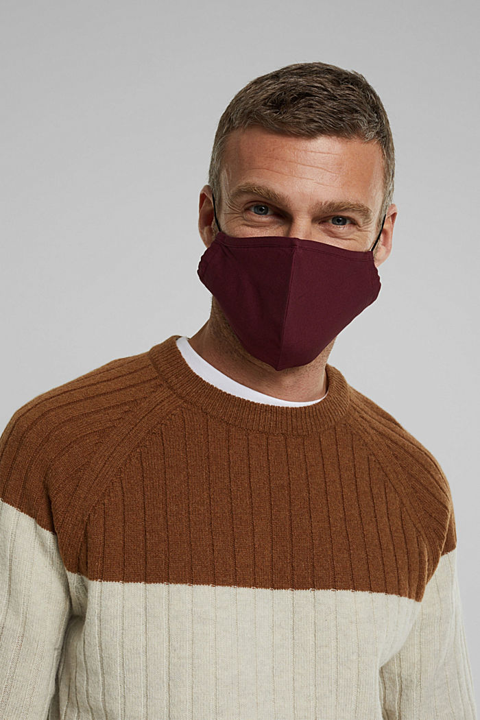 Unisex mask made of 100% organic cotton, BORDEAUX RED, detail image number 3