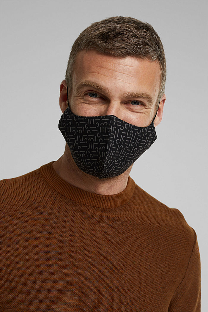Face mask made of 100% organic cotton, BLACK, detail image number 3