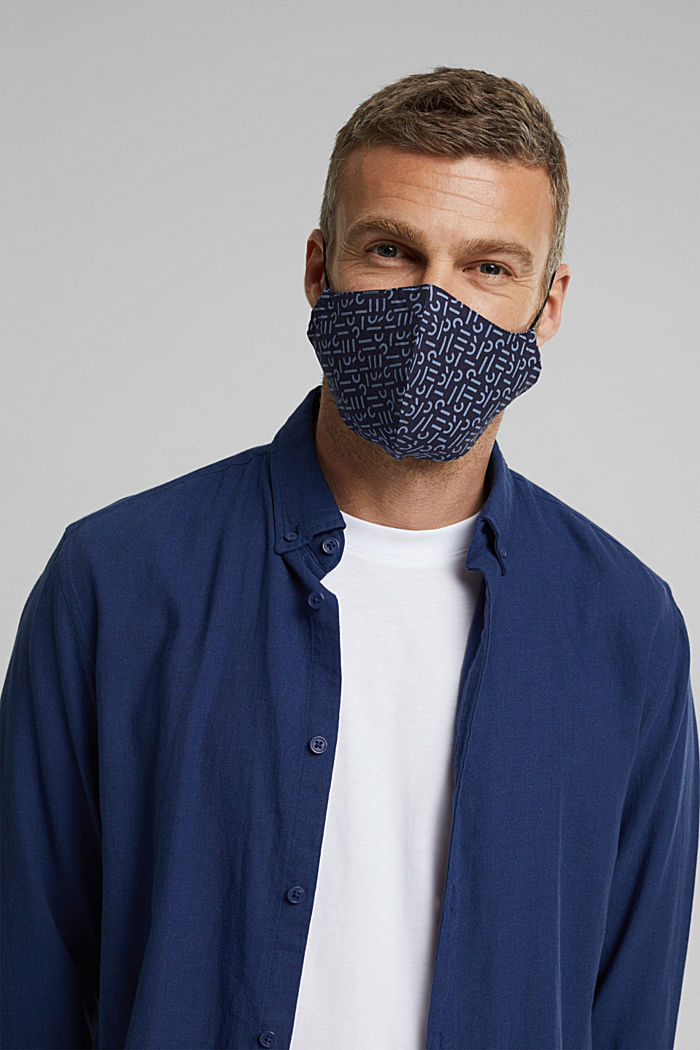 Face mask made of 100% organic cotton, NAVY, detail image number 3