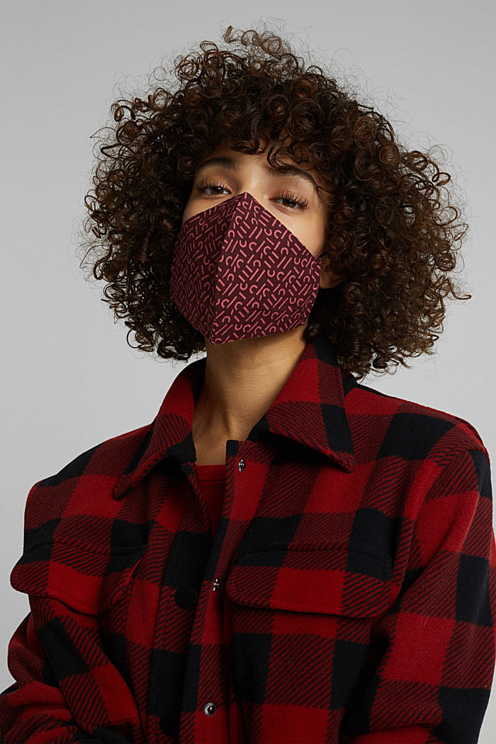 Face mask made of 100% organic cotton, BORDEAUX RED, detail image number 2