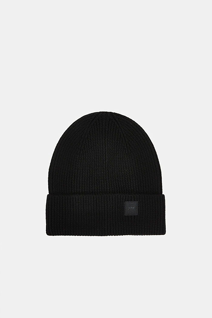 Recycled: knit beanie made of blended wool, BLACK, detail image number 0