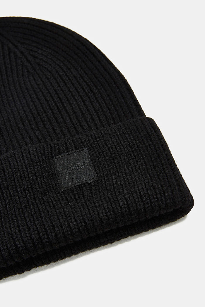 Recycled: knit beanie made of blended wool, BLACK, detail image number 1
