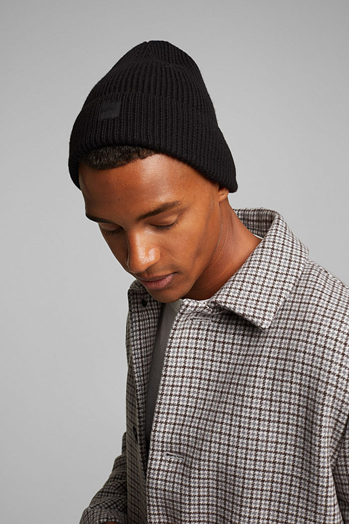 Recycled: knit beanie made of blended wool, BLACK, detail image number 2
