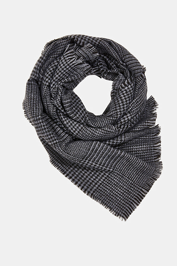 Recycled woven scarf with a houndstooth pattern, BLACK, detail image number 0