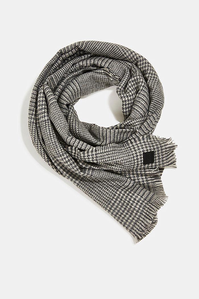 Gerecycled: geweven sjaal met pied-de-poule, GREY, detail image number 0