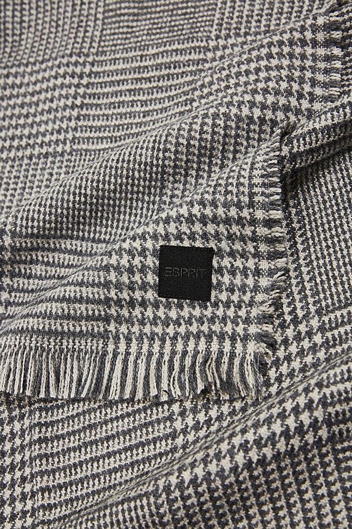 Gerecycled: geweven sjaal met pied-de-poule, GREY, detail image number 2