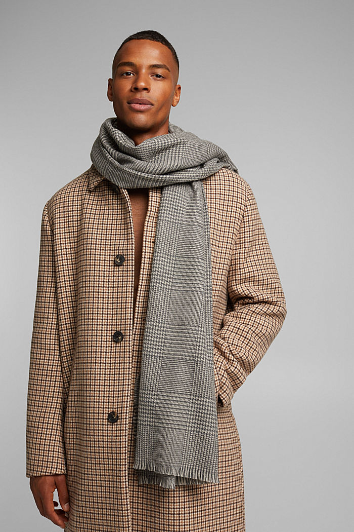Gerecycled: geweven sjaal met pied-de-poule, GREY, detail image number 1
