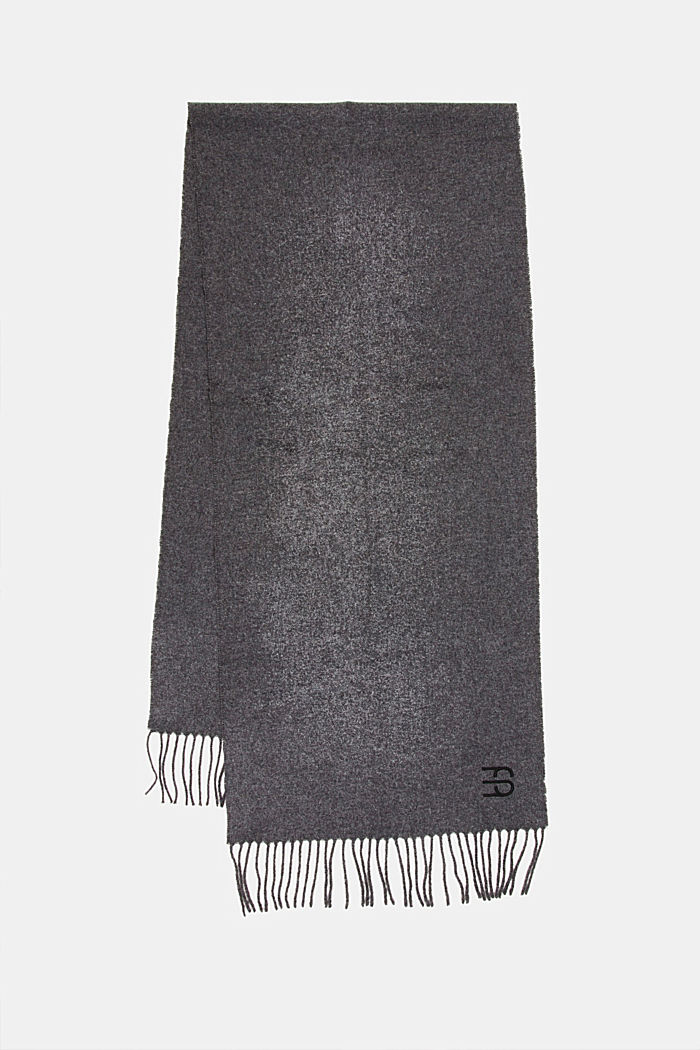 Made of blended wool: Fringed scarf