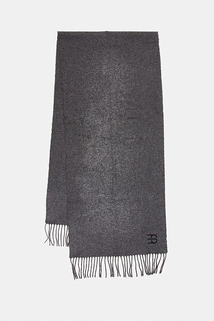 Made of blended wool: Fringed scarf, DARK GREY, detail image number 0