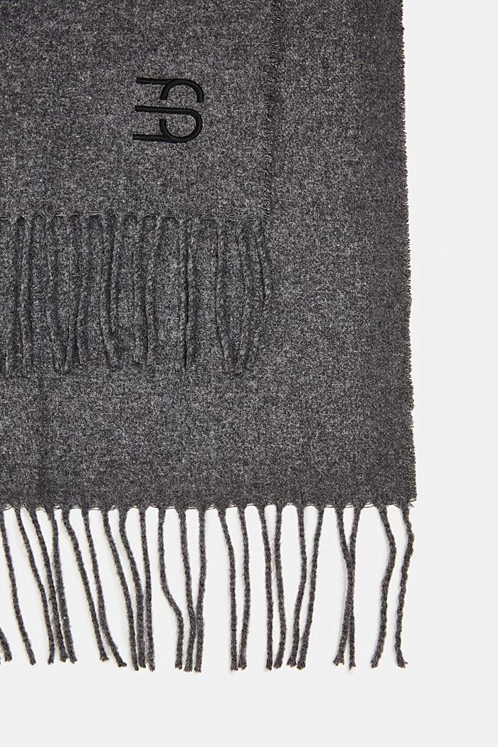 Van een wolmix: sjaal met franjes, DARK GREY, detail image number 2