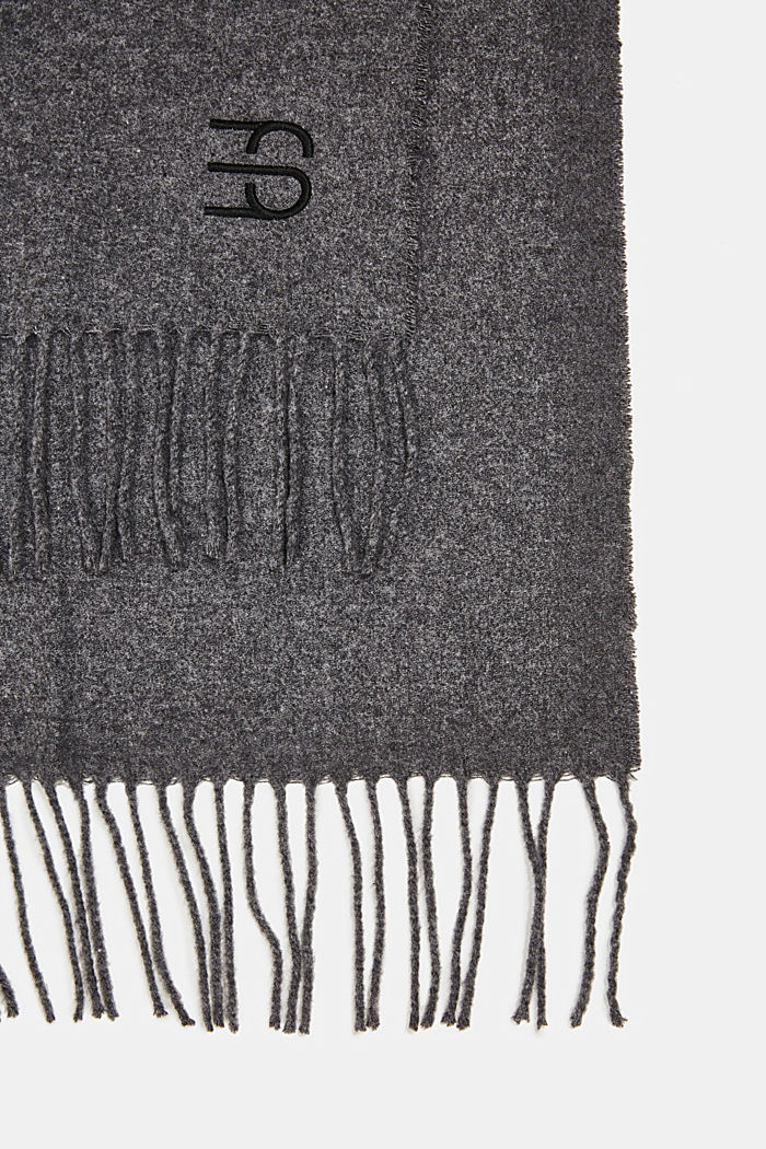 Made of blended wool: Fringed scarf, DARK GREY, detail image number 2