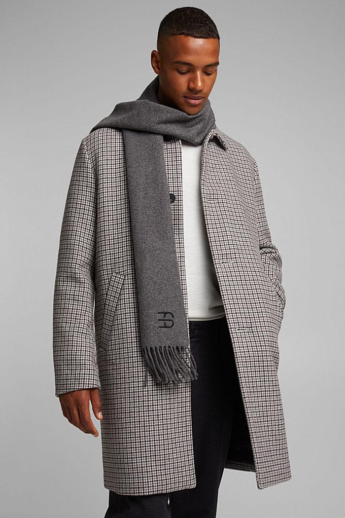 Made of blended wool: Fringed scarf, DARK GREY, detail image number 1