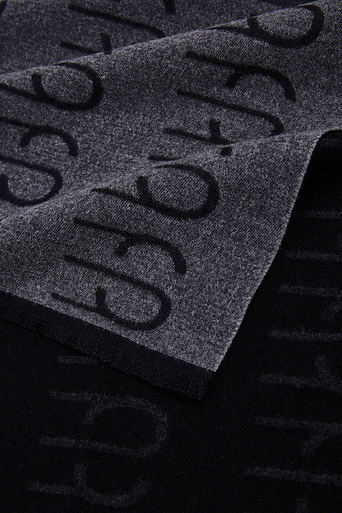 Recycled: double-faced scarf with a monogram, DARK GREY, detail image number 2