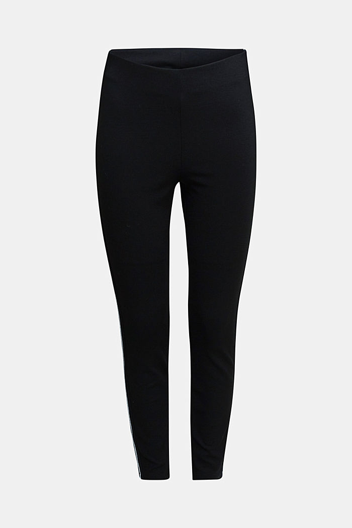Leggings with shiny stripes, LENZING™ ECOVERO™, BLACK, overview