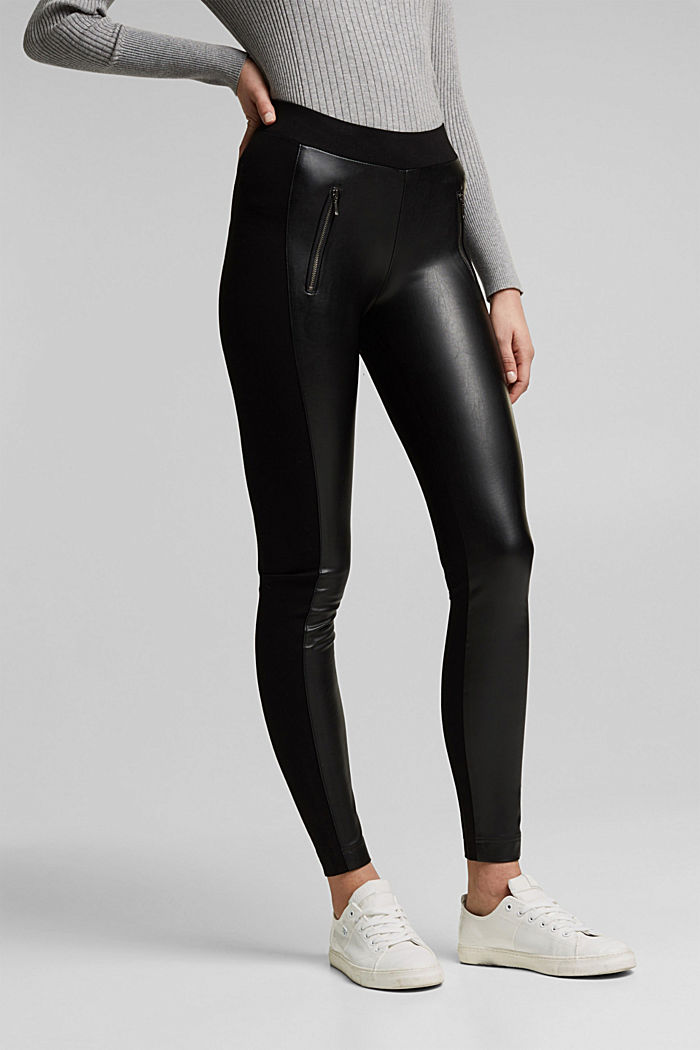 Faux leather leggings with zip details, BLACK, detail image number 0