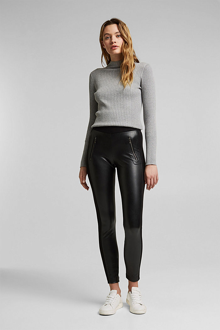 Faux leather leggings with zip details, BLACK, detail image number 1