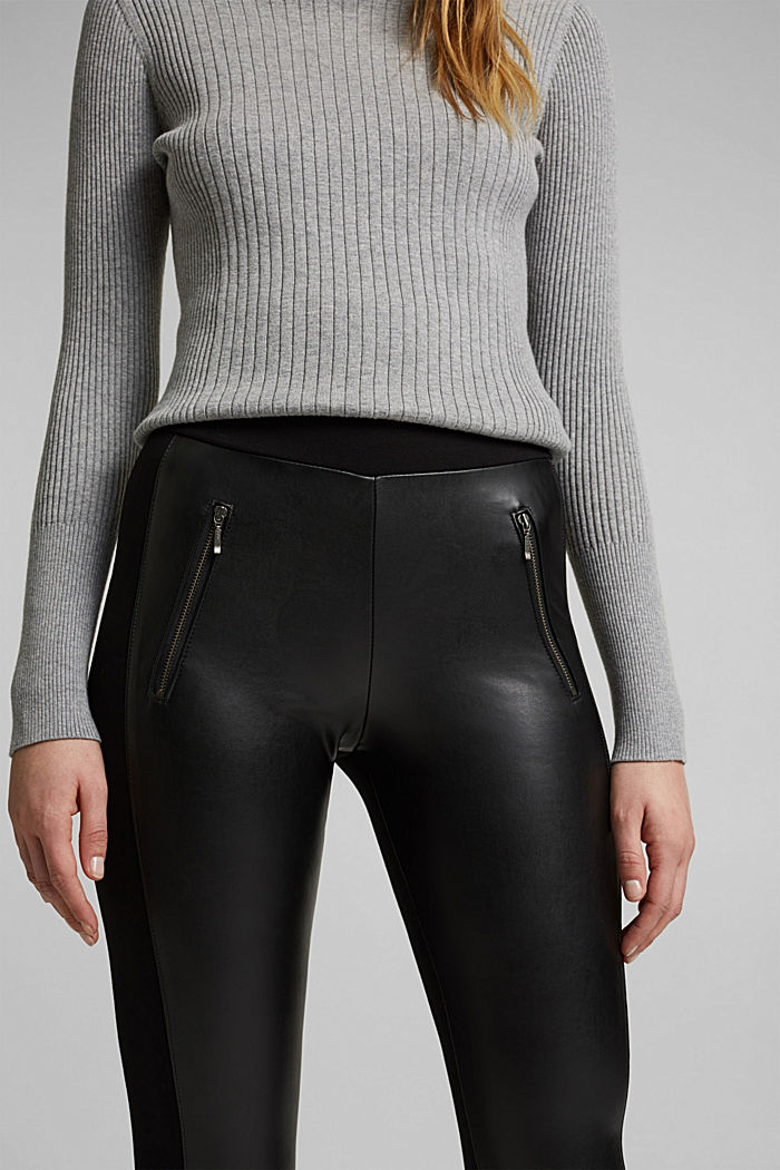 Faux leather leggings with zip details, BLACK, detail image number 2