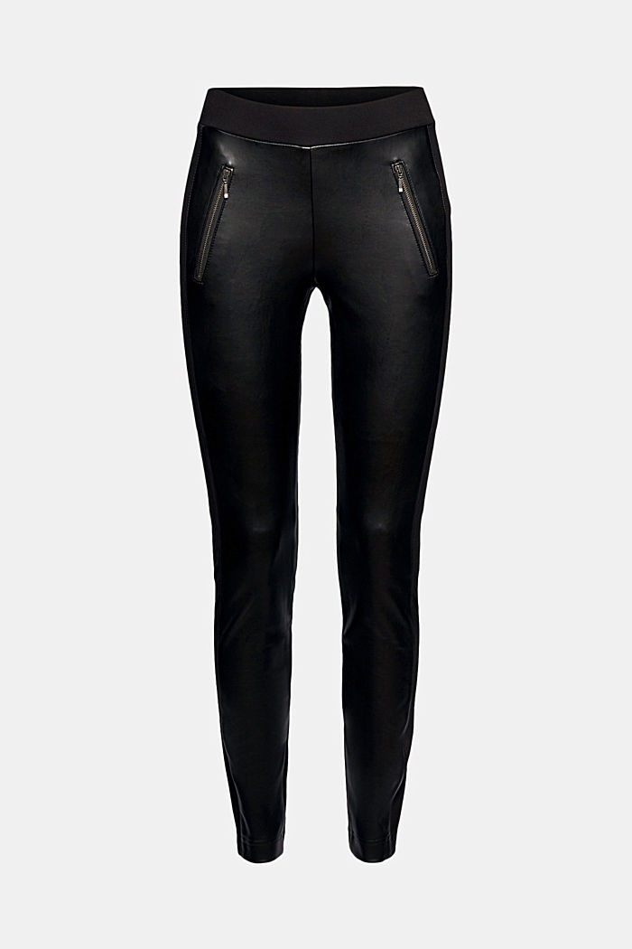 Faux leather leggings with zip details, BLACK, detail image number 6