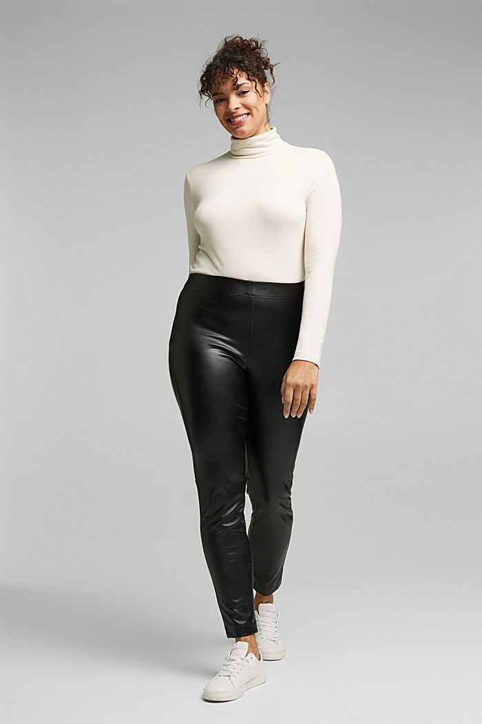 CURVY faux leather leggings, BLACK, detail image number 1