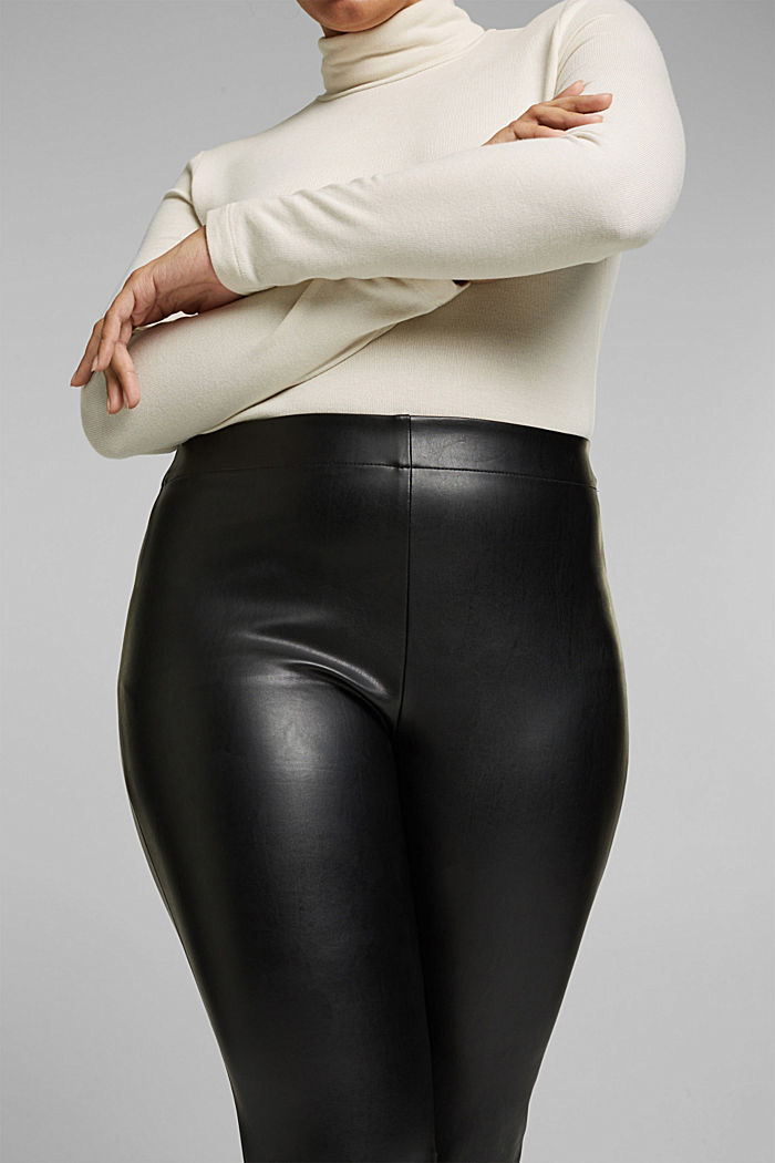 CURVY faux leather leggings, BLACK, detail image number 2